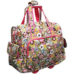 Olympia Luggage Pink Tulip Rolling Fashion Carry-on Tote Bag