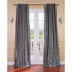 Storm Grey Vintage 120-inch Faux Textured Dupioni Silk Curtain Panel