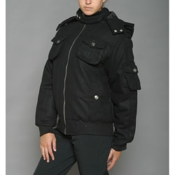 Lexen Women's Black Wool-blend Bomber Coat