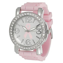 Geneva Platinum Women's Rhinestone Breast Cancer Awareness Watch