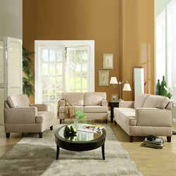 ETHAN HOME Stewart Beige Track Arm Modern 3-piece Living Room Set