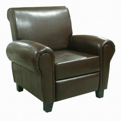 Espresso Leather Accent Club Chair
