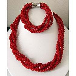 Pearls Plus Red Crystal Necklace and Bracelet Jewelry Set