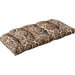 Pillow Perfect Outdoor Brown/ Beige Floral Wicker Loveseat Cushion