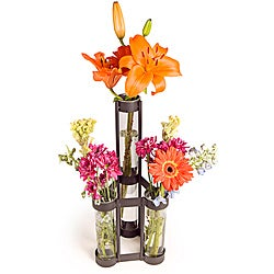 Two-level Rustic Iron Triple Tube Vase