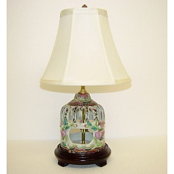 Rose Medallion Small Birdcage Porcelain Table Lamp