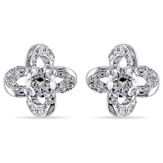 Miadora 14k White Gold 1/4ct TDW Diamond Swirl Earrings (G-H, SI2)