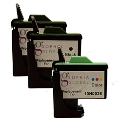 Sophia Global Lexmark 16 and Lexmark 26 Black and Color Ink Cartridges (Pack of 3) (Remanufactured)