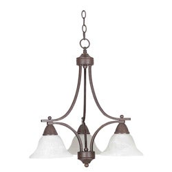 Three-light Pewter Down Chandelier