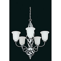 Bright 5-light Satin Nickel Chandelier