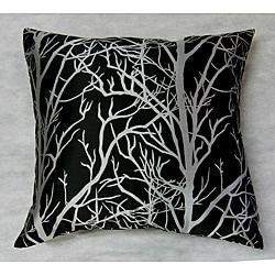 Silver Tree Black Ground Throw Pillow