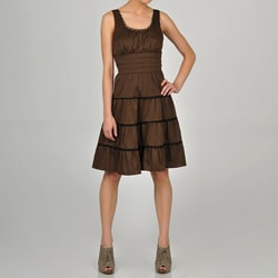 Decode 1.8 Women&#39;s Brown Ruffle Lace Detail Dress