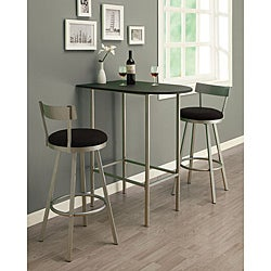 Silver Metal Swivel Barstool (Set of 2)