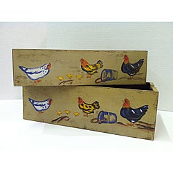 Rectangular Wood Chicken Bucket Planter (Set of 2)