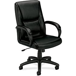 basyx by HON Black Executive Mid-back Chair with Padded Arms