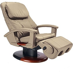 Cream Wood Accented Human Touch Stretching Massage Chair (Refurbished)