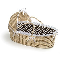 Natural Hooded Moses Basket in Brown Polka Dot