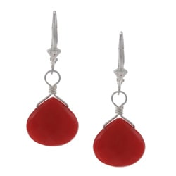 Charming Life Sterling Silver Faceted Red Quartz Briolette Earrings