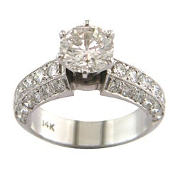 14k White Gold 3 1/8ct TDW Certified Clarity-enhanced Round Diamond Engagement Ring (H-I,SI2 )