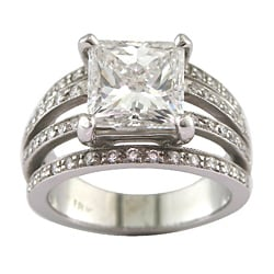 18k White Gold 4 3/4ct TDW Certified Clarity-enhanced Diamond Engagement Ring (F,SI3 )