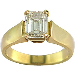 14k White Gold 1.53 TDW Certified Clarity-Enhanced Emerald-Cut Diamond Engagement Ring (H-I,SI2 )