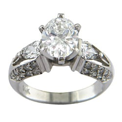 14k White Gold 2 5/8ct TDW Certified Clarity-enhanced Oval-cut Diamond Engagement Ring (E-F,SI1 )