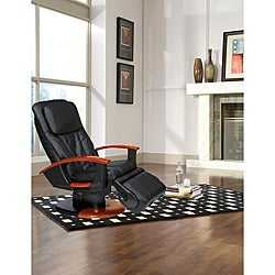 Black Dual Disc Leather Human Touch Massage Chair (Refurbished)