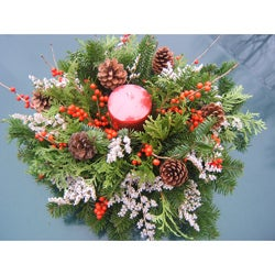 Fresh Balsam and Winterberry Candle Centerpiece