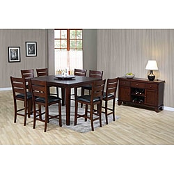 Dark Oak Veneer Pub Dining Table with Lazy Susan
