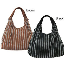 Amerileather Jessie Striped Leather Hobo Bag
