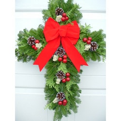Fresh Balsam 24-inch Cross Wreath