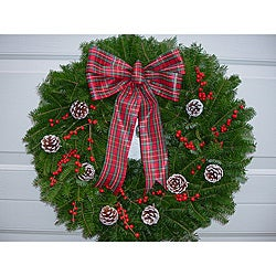 Fresh Balsam and Winterberry Frosted Cones 24-inch Wreath