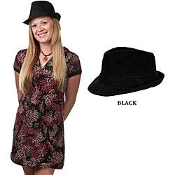 Women's Black Cotton Felt Fedora (China)