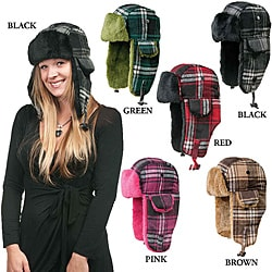 Women's Plaid Fux Fur Lined Aviator Hat (China)