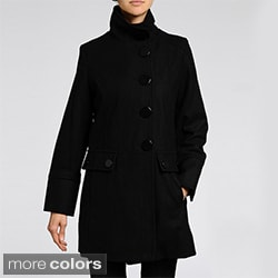 Nuage Women's Plus Size Melton Wool-blend Short Coat