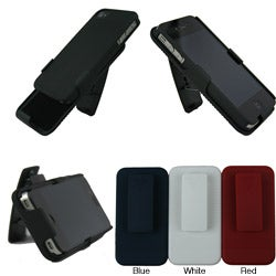 Iphone 4 / 4S Rubberized Protector Case with Kick Stand Holster Clip