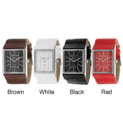 Geneva Platinum Women's Rectangular Face Faux Leather Strap Watch