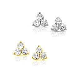 14k Gold 1/2ct TDW Diamond Three-Stone Earrings (I-J, I1-I2)