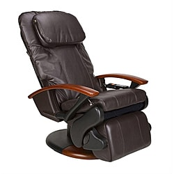 Espresso Human Touch Stretching Massage Chair with Extendable Footrest (Refurbished)