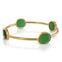 ELYA Designs 22K Goldplated Green Quartz Bangle Bracelet