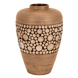 Casa Cortes Artisian Ceramic Inlay Wood Vase
