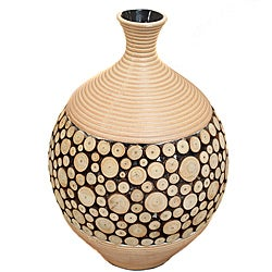 Casa Cortes Round Artesian Ceramic Inlay Wood Vase