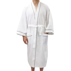 Leisureland Men's White Waffle Weave Spa Bathrobe