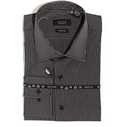 Men's Black Wrinkle-free Cotton Shirt