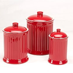 Simsbury Red Storage Canisters (Set of 3)