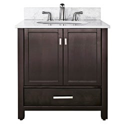 Manhattan 36-inch Espresso Vanity with Beige Marble Top and Sink