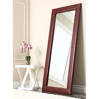 Abbyson Living Delano Burgundy Leather Floor Mirror