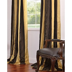 Vintage Romance Faux Silk Taffeta Striped 96-inch Curtain Panel