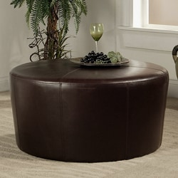 Abbyson Living Montgomery Dark Brown Bicast Leather Round Ottoman