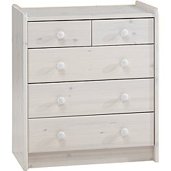 Popsicle Whitewash 5-drawer Dresser
